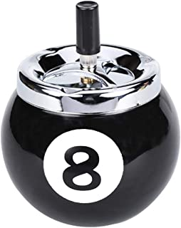Creative Cigarette Ashtray No.8 Billiards Ball Ashtray Metal Smoking AshTray with Push-on rotary cover for Indoor or Outdo...