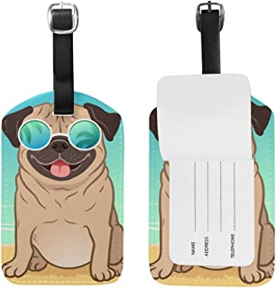 ALAZA Pug Dog Summer Beach Luggage Tag PU Leather Bag Suitcases Baggage Label 1 Piece