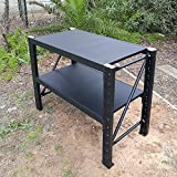 120x90x60cm Steel Garage Work Bench Shelves Workshop Workbench Racks Workbenches (Matte Black)