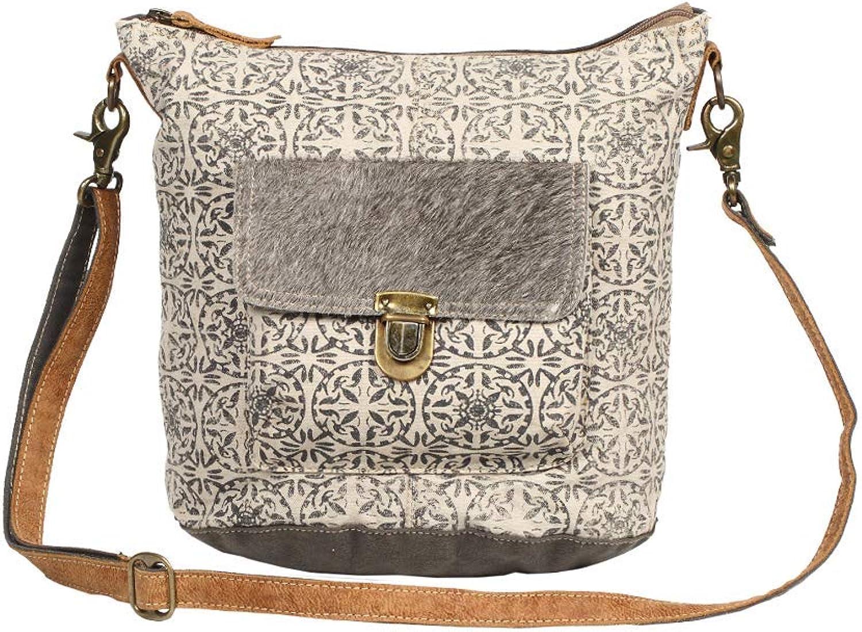 Myra Bag Ormos Upcycled Canvas & Cowhide Leather Shoulder Bag S1255