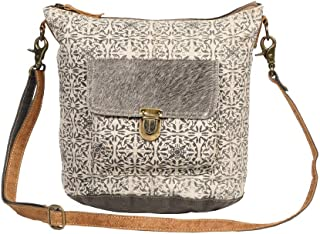 Ormos Upcycled Canvas & Cowhide Leather Shoulder Bag S-1255