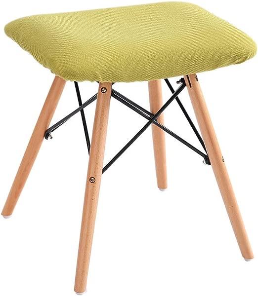 实木脚凳现代简约沙发脚凳搁脚凳家用餐椅木腿 4 腿亚麻罩绿色