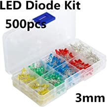Akozon Assortment Diodes Kit DIY 500pcs 3mm LED Lumi/ère Blanc Jaune Rouge Bleu Vert