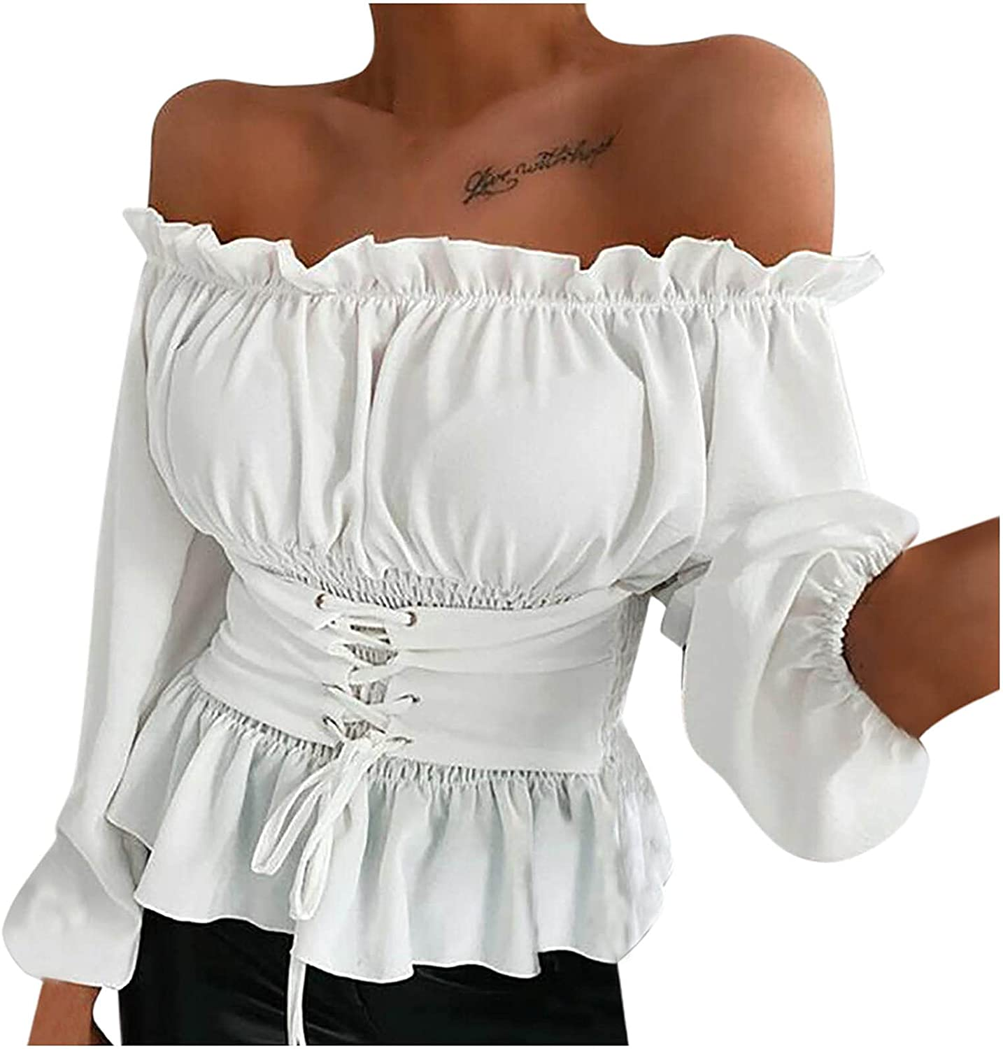 Akklian Cold Shoulder Tops for Women Summer Solid Color Blouses Ruffle Hem Puff Sleeve Blouse Casual Slim Cami Peplum Top