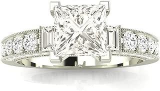 1.5 Carat 14K White Gold Round Half Bezel Baguette GIA Certified Princess Cut Diamond Engagement Ring (1 Ct J Color VS1 Clarity Center Stone)