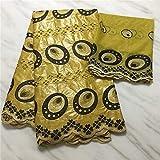 NUEVA manera de encaje de tul de encaje francés para coser la ropa del vestido Bazin africana Tela 5 yardas + 2 yardas de tela del cordón suizo de la gasa (YELLOW)
