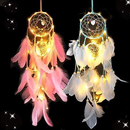 Liuer 2PCS Attrape Rêve avec Lumière LED Attrape-rêves de Plumes Colorées Fleurs Dream Catcher Tenture Murale Ornement pour Enfants Chambre Décoration de la Maison Bénédiction Cadeau(Rose,Bleu)