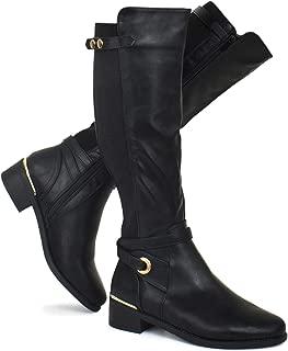 Strappy Buckle Elastic Panel Knee High Boots - Low Heel Zipper Combat Stacked Heel Boots