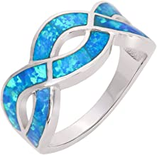 CloseoutWarehouse Infinity Cubic Zirconia Blue Simulated Opal 925 Sterling Silver Size 7