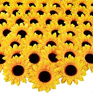 Whonline 60pcs 3.9in Artificial Sunflower Heads Fake Silk Fabric Sunflowers for Wedding Party Centerpieces Home Garden Bride Holding Flowers Craft Shower Decor