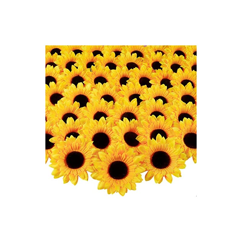 silk flower arrangements whonline 60pcs 3.9in artificial sunflower heads fake silk fabric sunflowers for wedding party centerpieces home garden bride holding flowers craft shower decor