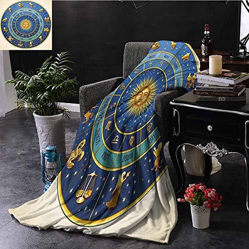 GGACEN Babydeken Wheel van Astrologische Tekenen Namen en Datums met Maan Zon in Midden Warm & Hypoallergeen Wasbare Bank/Bed Gooit 35