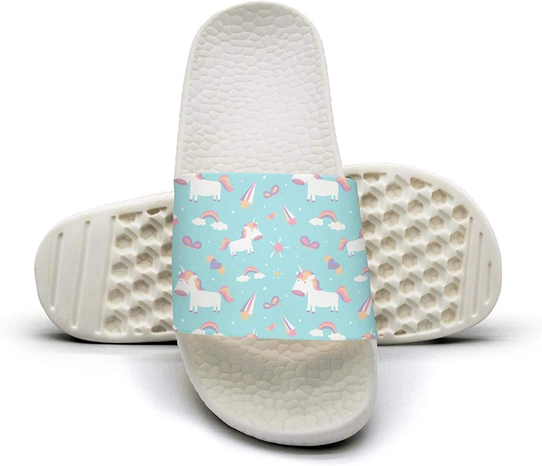 Ina Fers.Slide Sandals For Women Cute Magic Unicorn Rainbow Fairy Wings Indoor Bath Slipper Anti-Slip House Sandal