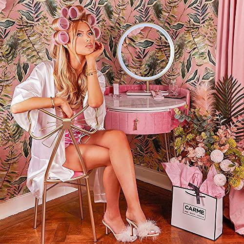 Carme - Tavolo da toeletta in velluto pastello Paradise con sensore touch a LED, colore: Rosa fenicottero