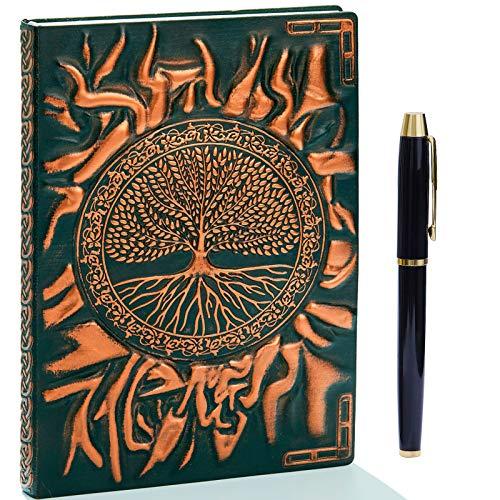 Taccuino vintage 3D in pelle goffrata con penna dorata, A5, 200 pagine, blocco note giornaliero, diario di viaggio e taccuino per scrivere, regalo per donne e uomini(rossobronzo)