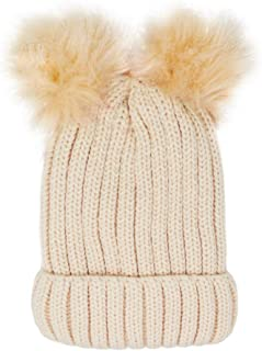 Me Plus Women's Winter Fleece Lined Chunky Cable Knitted Double Pom Pom Beanie Hat
