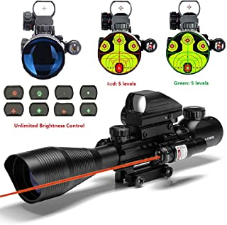 THEA C4-12X50 Scope Dual Illuminated Reticle W/Green(RED) Laser Sight and 4 Tactical Holographic Dot Reflex Sight (12 Month Warranty)