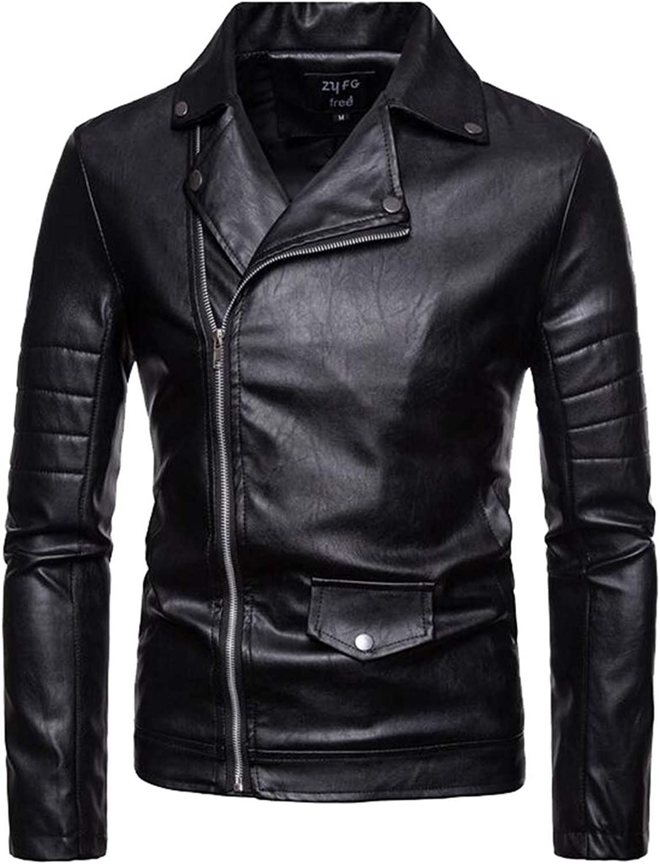 Sanderso Men's Vintage PU Leather Motorcycle Jacket Zipper Biker Jacket Coat