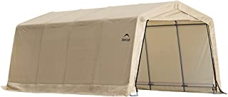 ShelterLogic 10' x 20' x 8' All-Steel Metal Frame Peak Style Roof Instant Garage and AutoShelter with Waterproof and UV-Tr...