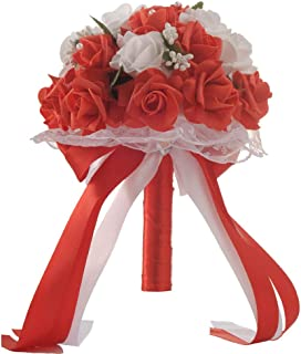 Micozy Wedding Bouquet, Big Size White Bridesmaid Bouquet Bridal Bouquet with Crystals Soft Ribbons, Artificial Rose Flowers for Wedding, Party and Church (White Big Size) (Red)