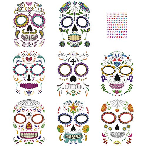 CODIRATO 8 PCS Halloween Tatuajes Temporales de Cara Día de los Muertos Esqueleto Cráneo Cara con 1 Pegatina de Diamantes de Imitación Tatuajes de Maquillaje para Halloween, Mascarada, Fiestas