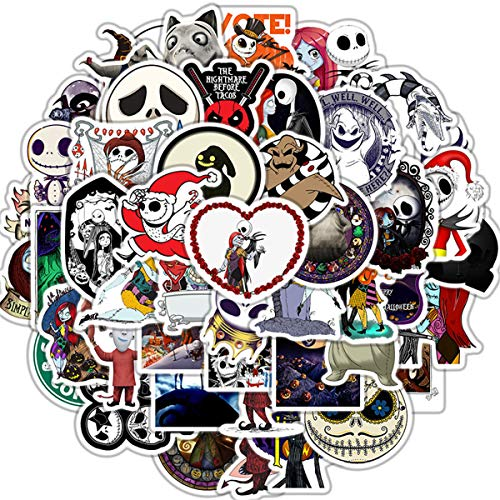 50 Pcs Halloween Theme Nightmare Before Christmas and Tim Burton's Stickers for Personalize Laptop, Car, Helmet, Skateboard, Luggage Graffiti Decals (Halloween)