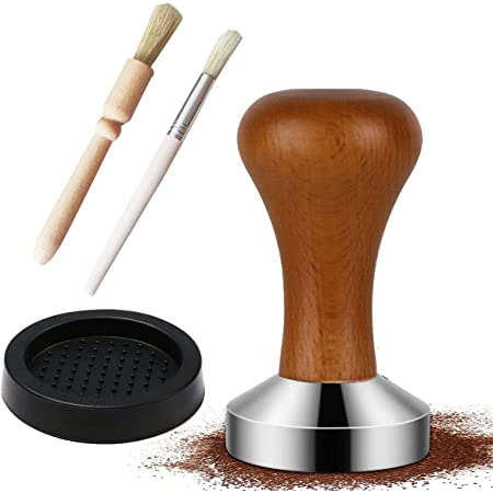 Prensador de caf/é 51mm de acero inoxidable y mango de madera Base de Silicona