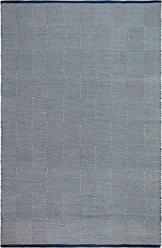 FAB HAB Zen - Tapis Bleu & Blanc en Polyéthylène recyclé (Fibres Polyester) pour intérieur/extérieur (90 cm x 150 cm)
