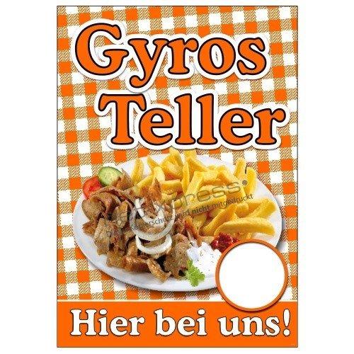 net-xpress Plakat Gyros Teller mit Foto Gyros mit Pommes A1, Werbeplakat Poster Imbiss