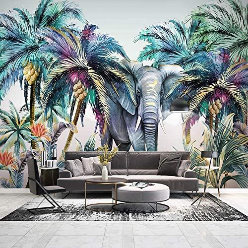 Muurschildering 3D Behang Moderne Handgeschilderde Bos Dier Tropische Plant Olifant Kokosnoot Boom Photo Muur Muren Woonkamer Fresco 250cm (W) x 175cm (H)