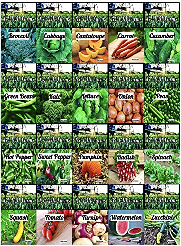Set of 20 Vegetable & Melon Seeds Perfect for Your Home Garden 20 Varieties-All Seeds are Heirloom,...