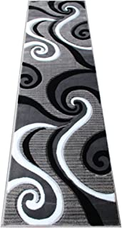 Masada Rugs, Sophia Collection Hand Carved Area Rug Modern Contemporary Grey White Black (2 Feet X 7 Feet 3 Inch) Runner