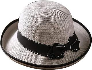 WN - Sombrero - Sombrero de Paja de Verano para Mujeres Sombrero para el Sol Sombrero de Playa Plegable para Viajes al Aire Libre Sombrero Fresco y Salvaje (4 Colores) Sombrero para Mujer