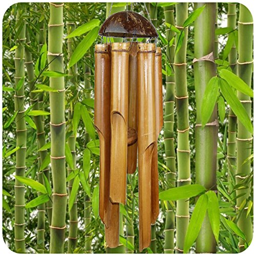 Simandra Windspiel Klangspiel Bambus Deko Mobile Klangröhren Klang-Spiel Entspannung Garten Türglocke Feng Shui 75/30 cm