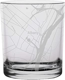 Albany City Map Whiskey Glass New York