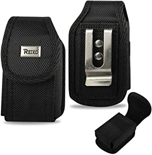 Samsung Galaxy Rugby Pro Vertical heavy duty rugged canvas cell phone case with Velcro closure, metal clip and belt loop under the clip. Comes with Antenna Booster.
