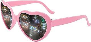 Heart Shaped Sunglasses, EDM Festival Light Changing Eyewear Heart Effect Diffraction Glasses for Women Men