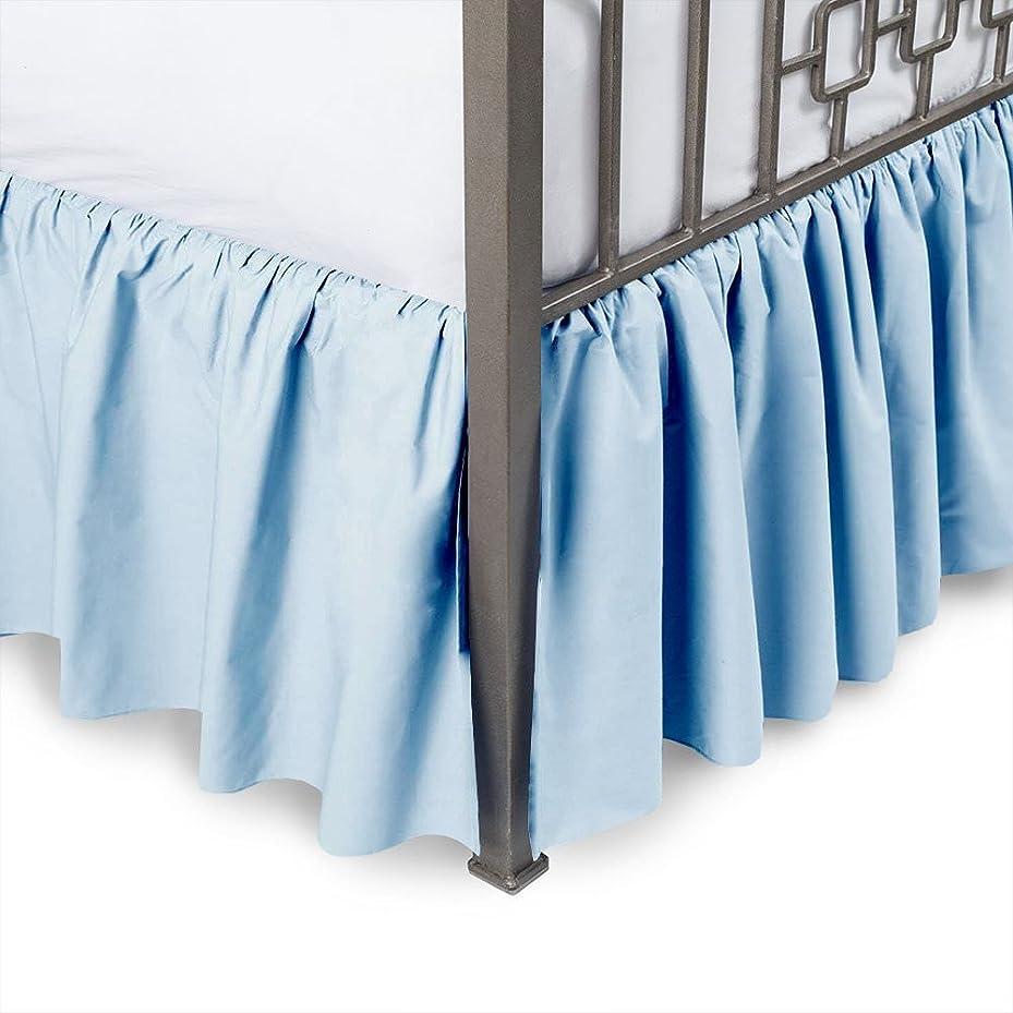 化学薬品危険を冒します批判的Sleepwellフリル付きベッドスカート100?%ピュアコットン400スレッド数分割コーナー、飾りお部屋で快適な、豪華なシートで、キング、ソリッドカラー Twin-XL-21 Inch ブルー VV-BDK-01-601