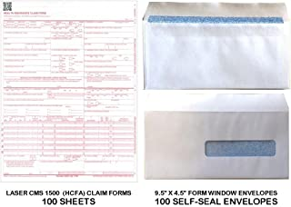 New CMS 1500 - HCFA Insurance Claim Forms and Self-Seal No. 10-1/2 Tinted Window Envelopes - 100 FORMS AND ENVELOPES