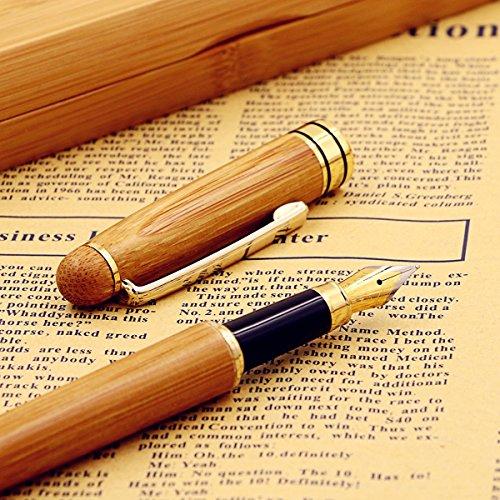 mSure, penna stilografica con custodia, entrambe in legno di bambù, 100% realizzata a mano, perfetta idea regalo per uomo/donna d'affari