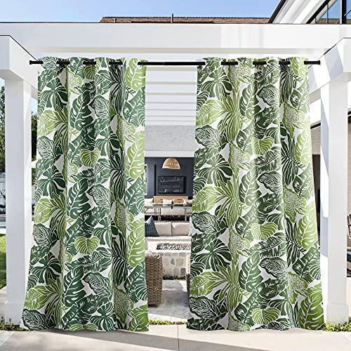 PONY DANCE Outdoor Vorhang Blickdicht Wasserabweisend - 1 Stück H 243 x B 132 cm Outdoor Gardine mit Bananenblätter-Muster Vorhänge für Terrasse & Balkon Sichtschutz Sonnenschutz Ösenschal