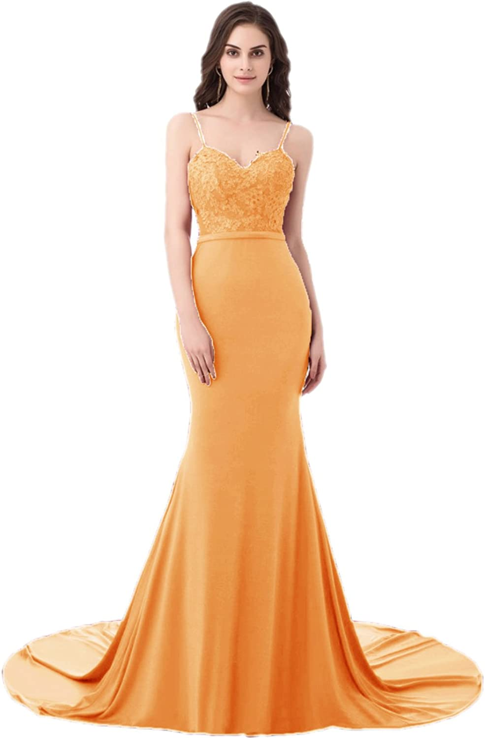 APXPF Women's Long Mermaid Prom Dress Spaghetti Strap Evening Party Gown