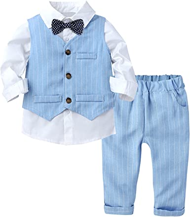 IEFIEL Conjuntos de Traje Formal de Fiesta para Niño Bebe Traje Caballero Elegante de 3 Piezas Camisa Blanca Manga Larga+Chaleco+Pantalónes Largos