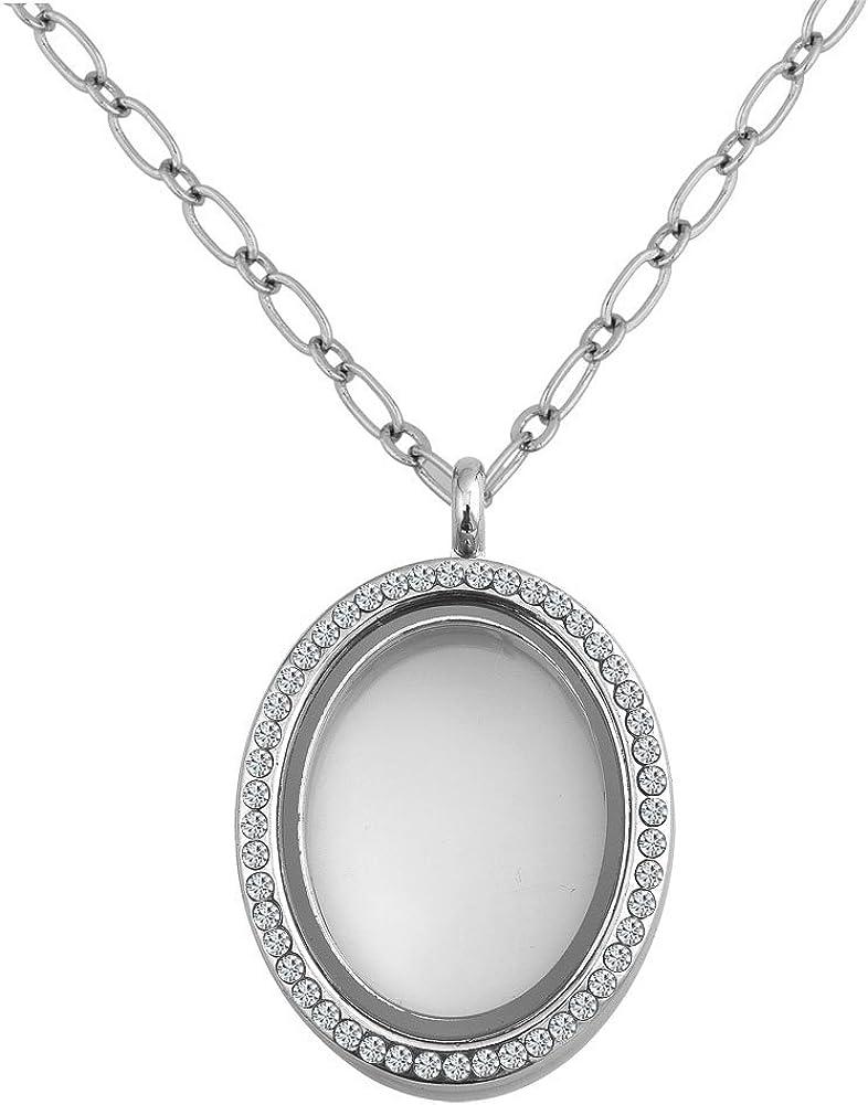 Round or Heart Rhinestone Birthstone Crystal Magentic Living Memory Floating Charm Locket Necklace Pendant