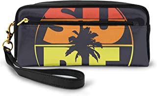 Pencil Case Pen Bag Pouch Stationary,Surf Typography In Rainbow Colors Featured With Palm Tree Silhouette Illustration,Small Makeup Bag Coin Purse