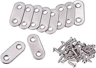 INCREWAY 10 stuks 37 bij 16mm platte brace plaat beugels, roestvrij stalen hoekbrace verbindingsplaten connector reparatie...