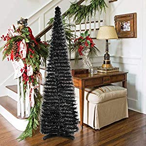 HMASYO Pop Up Christmas Tinsel Tree – 6 Foot Black Christmas Artificial Tree Collapsible Pencil Christmas Tree Decoration for Home Fireplace Apartment Party Indoor Outdoor (6 Foot – Black)