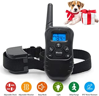FREECUBE Dog Collar, Rechargeable and Waterproof Shock Collar, 3 Training Modes, Beep, Vibration and Shock, Up to 900Ft Remote Range, Up to 99 Shock Levels Dog Training Set