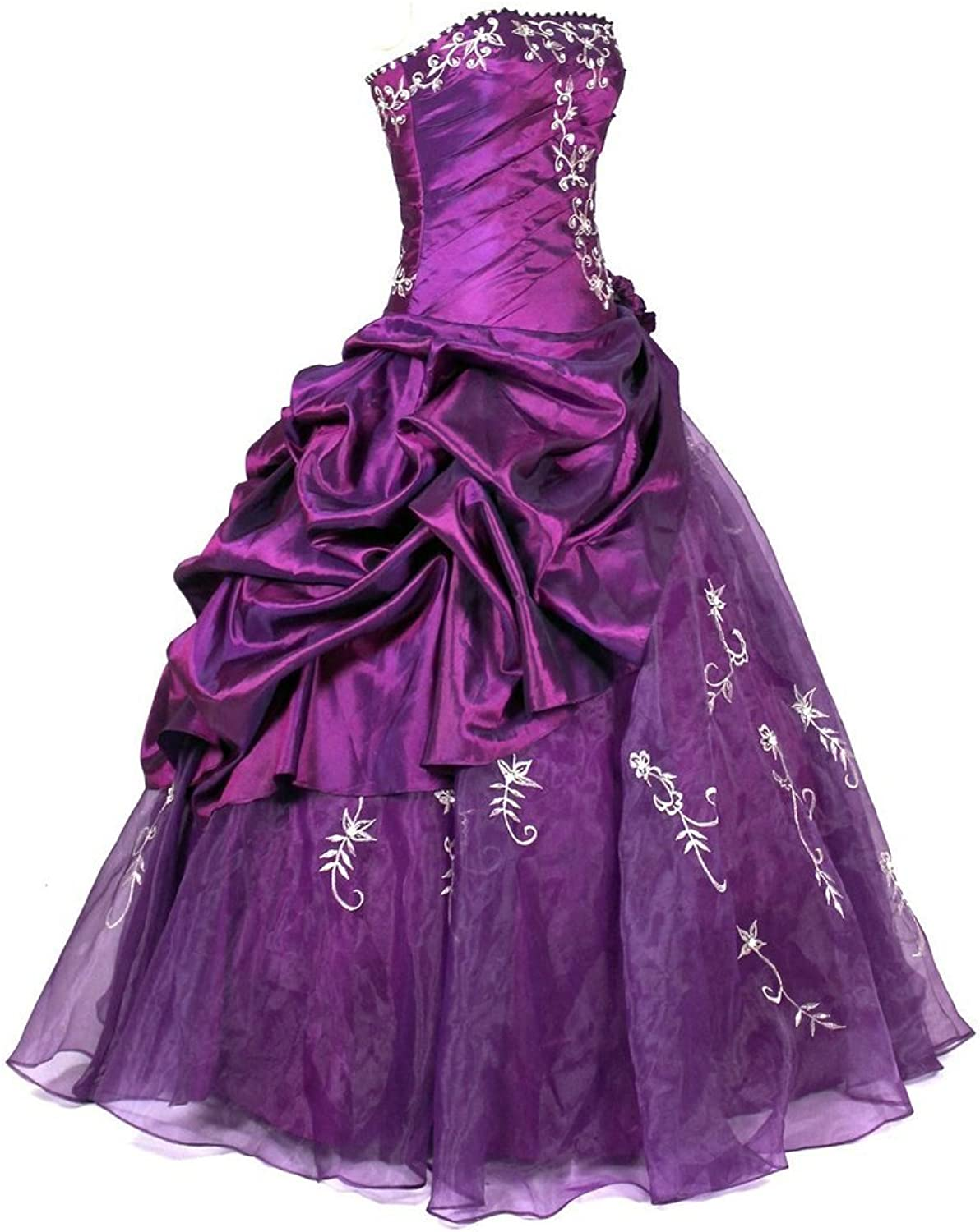 HSDJ Women's Ruffle with Embroidery Tulle Floor Length Quinceanera Dresses