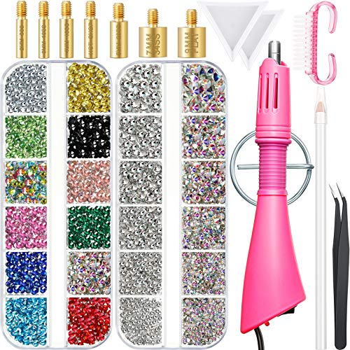 Hotfix Applicator Kit with Rhinestones, 6000 Pieces 12 Colors AB, Clear Hotfix Rhinestone Flackback Gem, 7 Tips, Gem Picker, Brush, Tweezers, Stand, Tray for DIY Craft, Clothes, Shoes, Bag